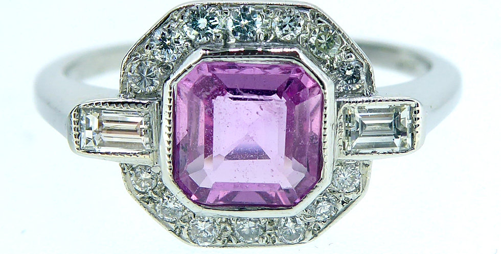 Art Deco Style Pink Sapphire and Diamond Ring, Cluster Cocktail Style