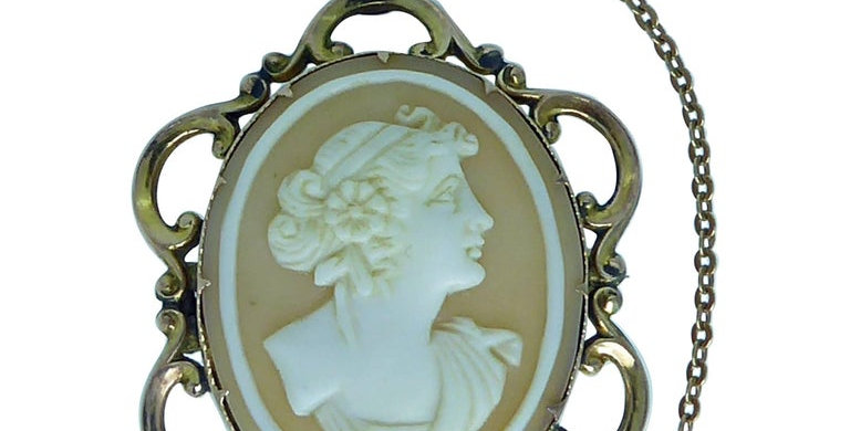 Victorian Cameo Brooch, Classical Lady's Head Carving, Gold Ornate Frame