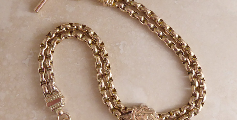 Victorian Lady's Albertina Watch Chain, 9ct Rose Gold with Slider