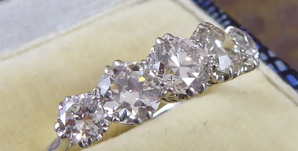 Vintage Diamond Ring, Five Early Brilliant Cut Diamonds 1.98ct, Pre-1930s