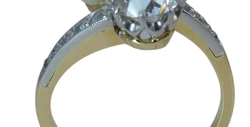 Art Deco Old European Cut Diamond and Pearl Toi et Moi Ring, Diamond Shoulders