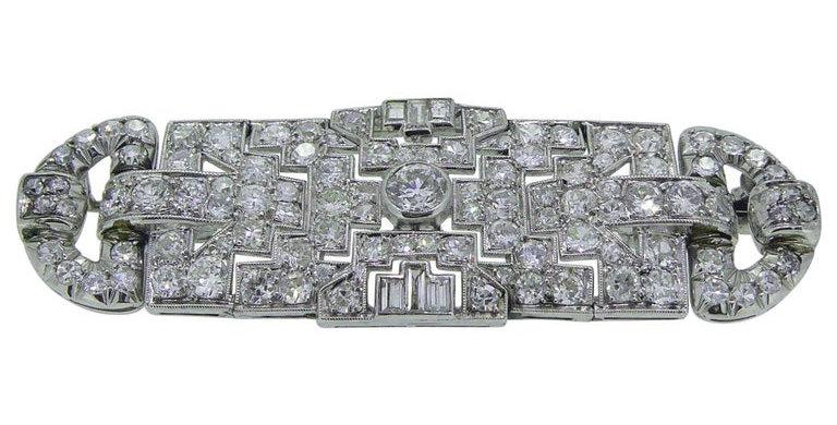 French Art Deco Diamond Brooch, 4.30 Carat, Platinum