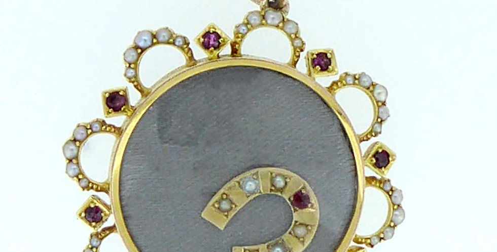 Antique Victorian Locket, Ruby and Pearl Surround, 15ct Gold, circa 1890