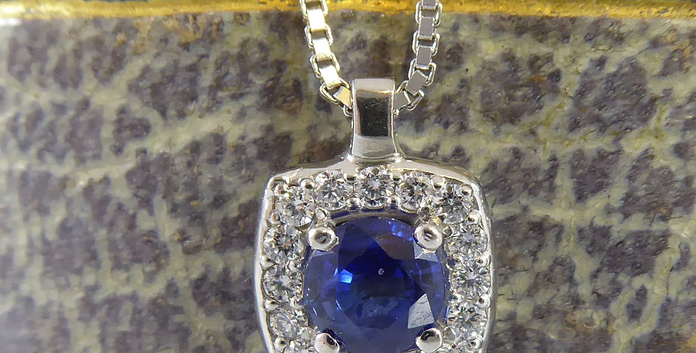 Pre-owned Sapphire and Diamond Pendant on White Gold Box Link Chain          in