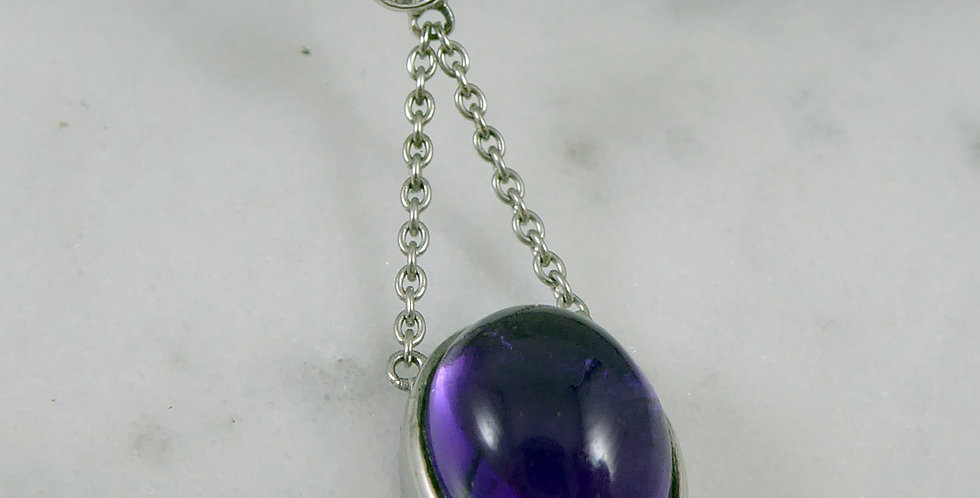 Art Deco Style Amethyst and Diamond Pendant