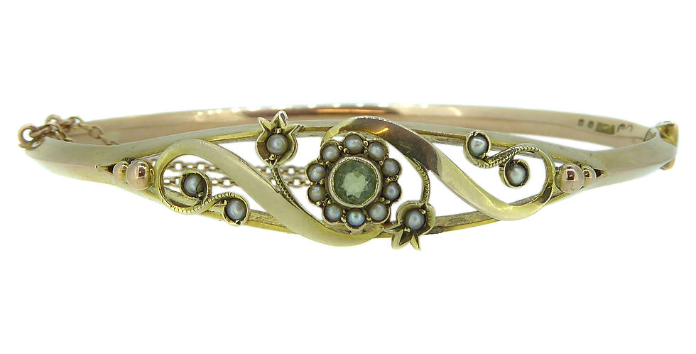 Antique Art Nouveau Bangle, Peridot and Pearl, Yellow Gold, Hallmarked 1911