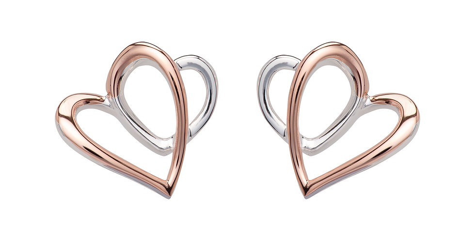 Silver and Rose Gold Coloured Earrings, Double Heart Shaped Contemporary Design