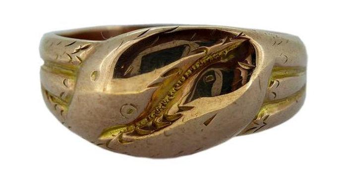 Antique Gold Snake Ring, Hallmarked Birmingham 1918, 9ct Rose Gold