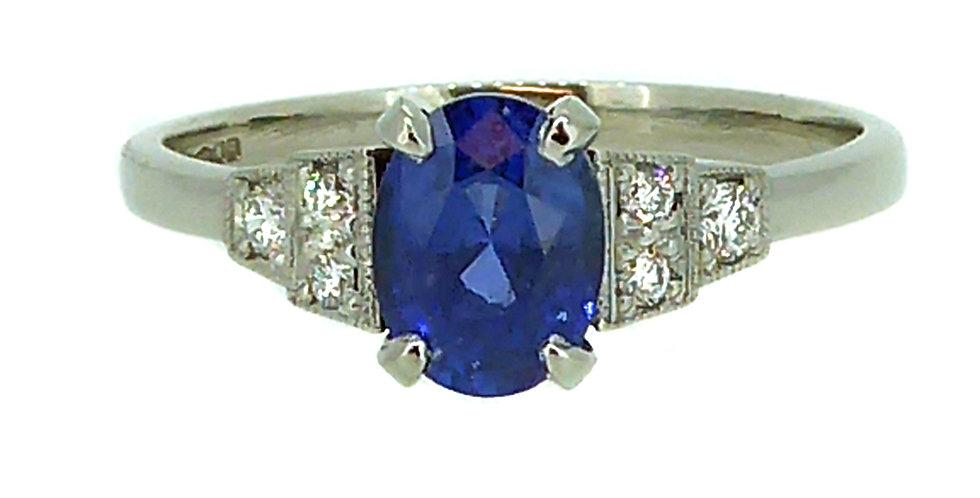 Art Deco Style 1.25 Carat Oval Sapphire Solitaire Ring, Diamond Set Shoulders