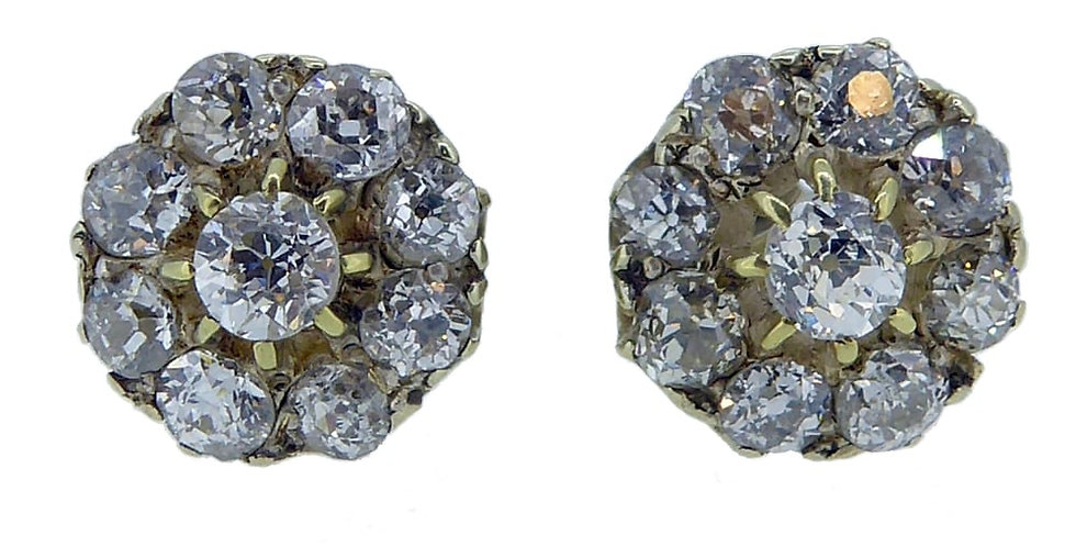 Victorian Diamond Earrings in Cluster Stud Style