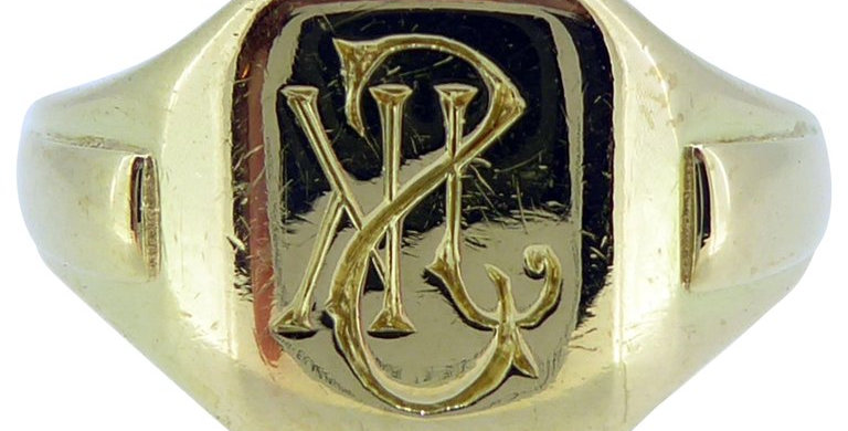 Vintage Gold Signet Ring, Initialled Engraved Seal, 18 Carat, Birmingham 1935