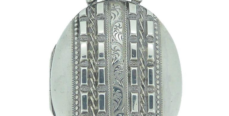 Antique Victorian Silver Locket Pendant, Hallmarked, Birmingham, 1883