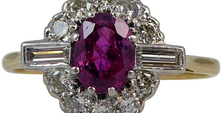 Modern 1.15 Carat Ruby Diamond Ring, Cluster Style