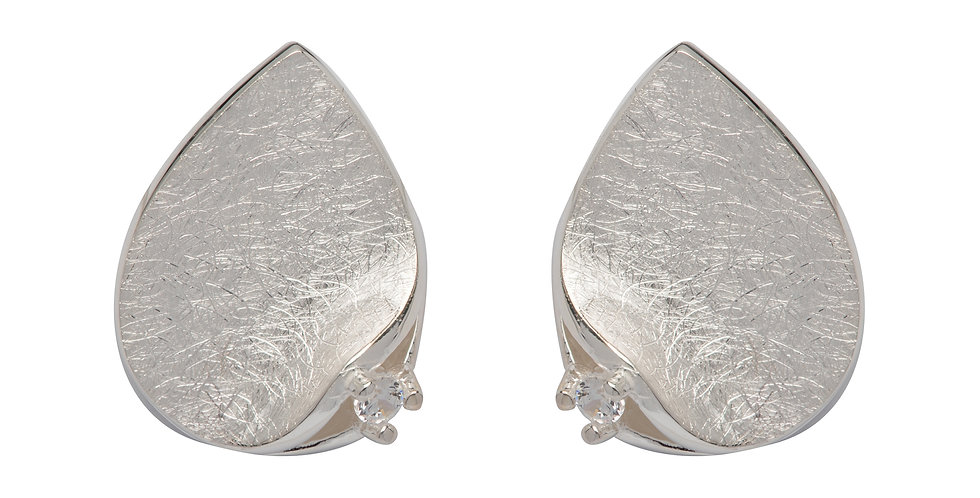 Contemporary Silver Earrings in Teardrop Shape with CZ Accent