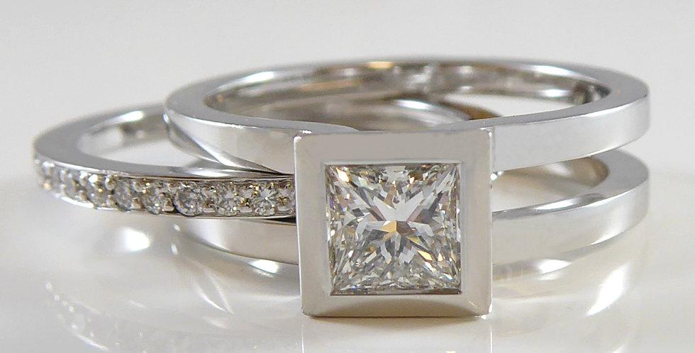 Princess Cut Diamond Engagement Ring with Removable Diamond Band Insert