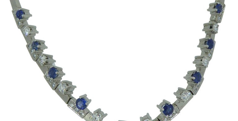 2.56 Carat Sapphire 2.01 Carat Diamond Necklace, Contemporary Design, White Gold