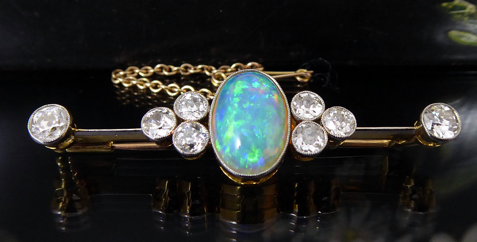 Antique Opal and Old European Cut Diamond Brooch