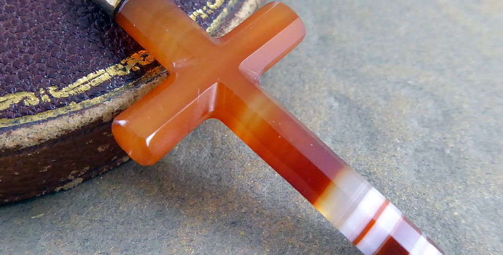 Antique Banded Agate Cross with Pendant Loop