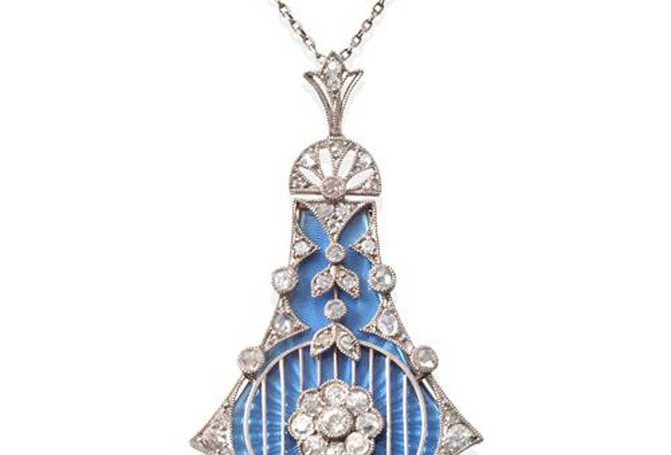 Antique Belle Epoque Diamond Enamel Pendant Necklace, Changeable Enamel Inserts