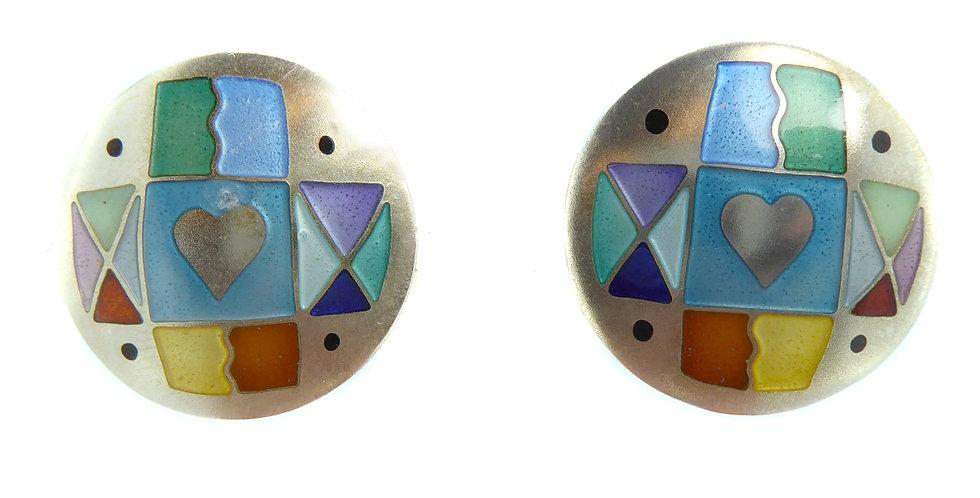 Modern Vintage Silver and Enamel Earrings by Jane Moore, London, 1994