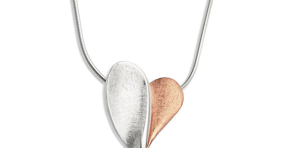 Contemporary Stylized Silver and Rose Gold Coloured Heart Shaped Pendant