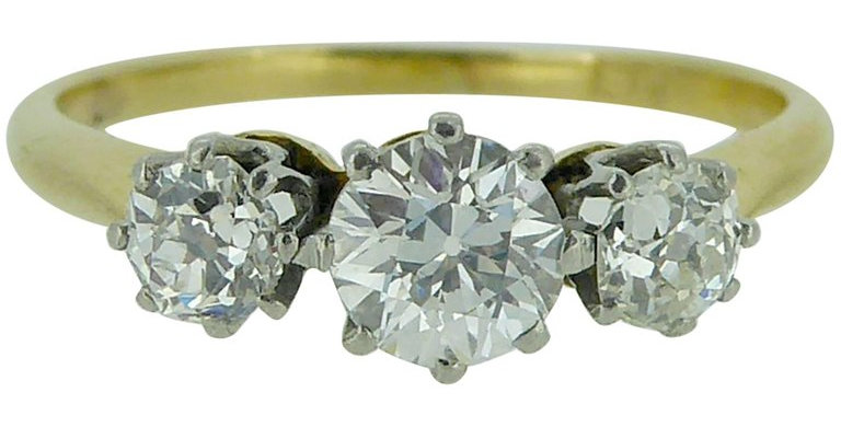Vintage Diamond Three-Stone Engagement Ring, 0.72 Carat
