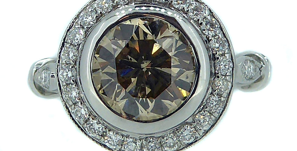 1.60 Carat Fancy Light Yellow Diamond Ring, Halo Cluster, White Gold