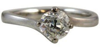 Old European Cut Diamond Solitaire Ring Remounted in 18ct White Gold