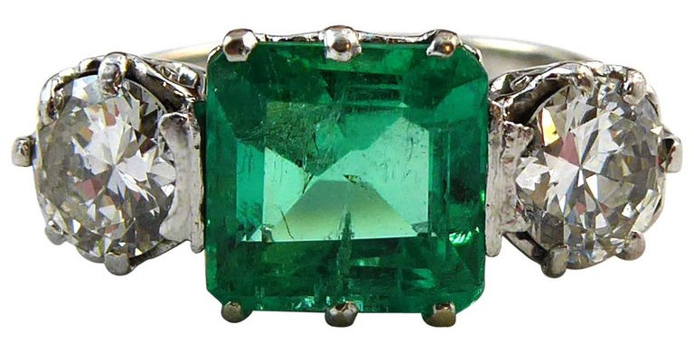 1.85 Carat Emerald and Diamond Three-Stone Engagement Ring, White Gold