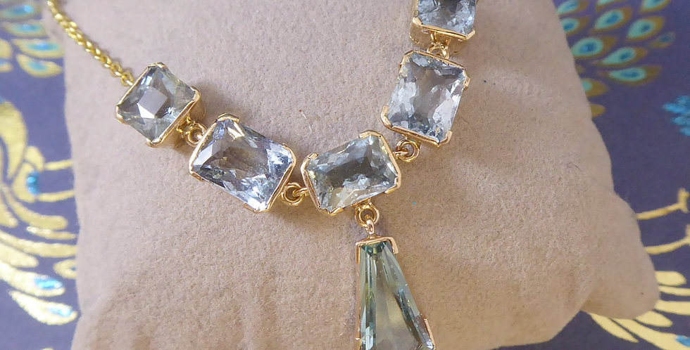 Vintage Aquamarine and Gold Necklace, Art Deco Style, Yellow Gold