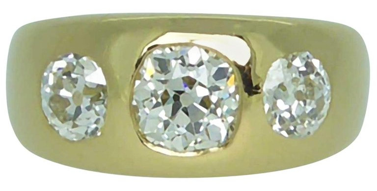 Antique 2.20 Carat Victorian Diamond Three Stone Ring, circa 1886, Yellow Gold