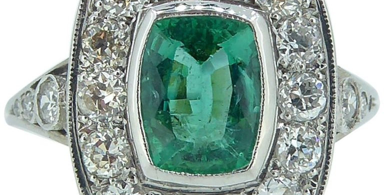 Vintage 1.04ct Emerald and Diamond Ring, Art Deco Style