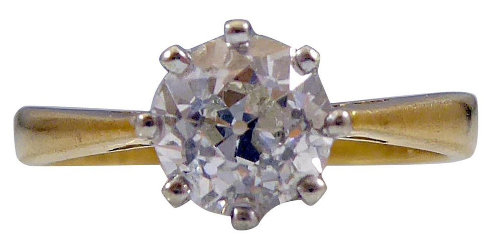 Antique 0.89 Carat Old European Cut Diamond Solitaire Engagement Ring