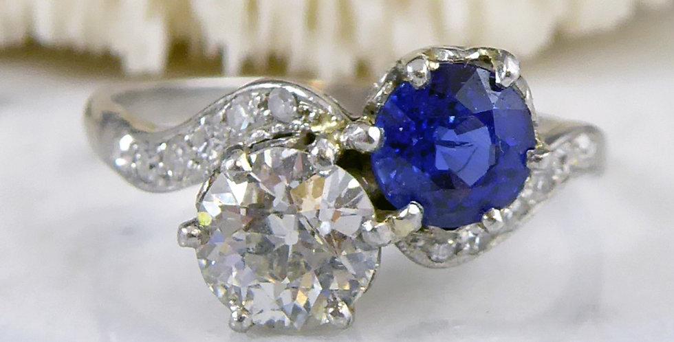 Art Deco Sapphire and Diamond Two Stone Twist Engagement Ring, Circa 1930s