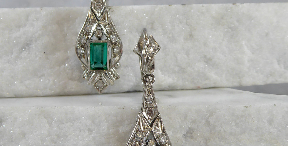 Vintage Emerald and Diamond Drop Earrings, Circa 1950s, White Gold