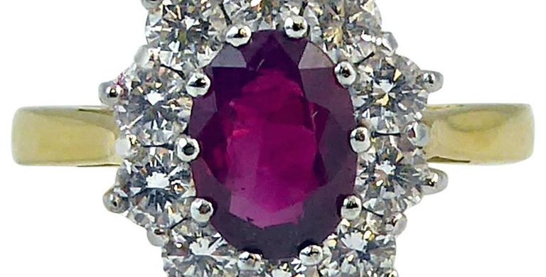 Vintage Ruby and Diamond Engagement Ring in Cluster Design