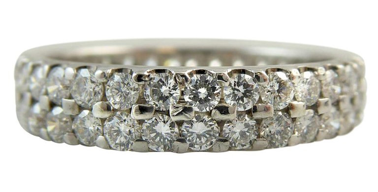1.50 Carat Diamond Eternity Ring, Double Row Band, Platinum, Pre-Owned