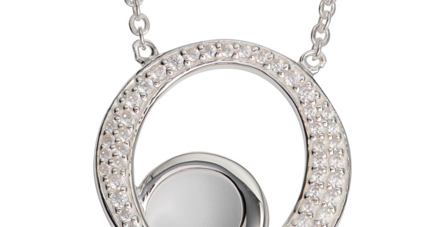"""Contemporary """"Double O"""" Silver Pendant with Cubic Zirconia Accent, Silver Chain"""