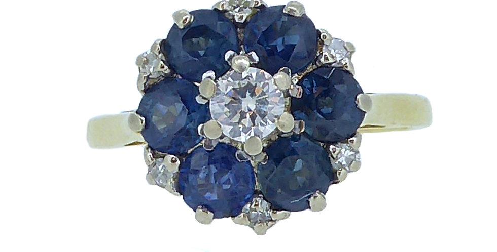 Vintage Blue Sapphire Diamond Cluster Engagement Ring Hallmarked 1973 Birmingham