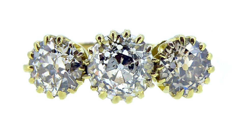Edwardian Three Stone Diamond Ring, Front View