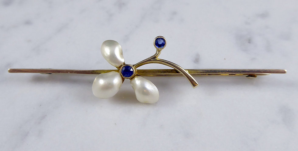 1920's Art Deco Vintage Sapphire and Pearl Brooch