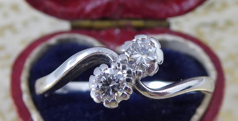 Vintage Two Stone Diamond Toi et Moi Engagement Ring in Platinum