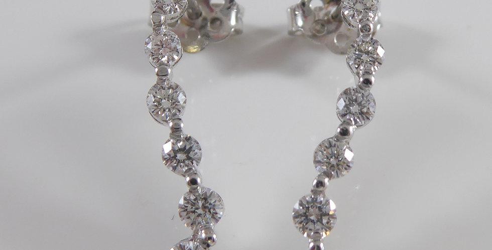 "Diamond Drop Earrings ""Wave"" Design in 18ct White Gold"