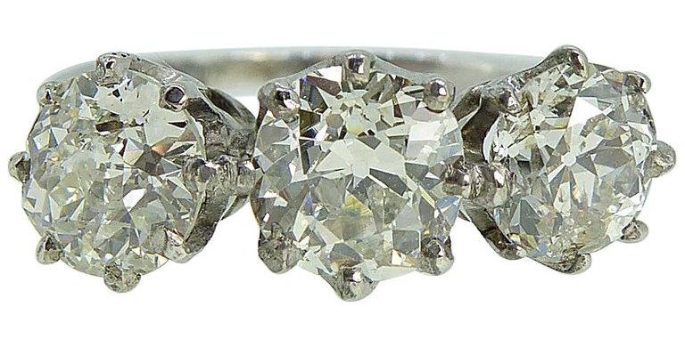 Antique 2.30 Carat Old European Cut Diamond 3-Stone Ring