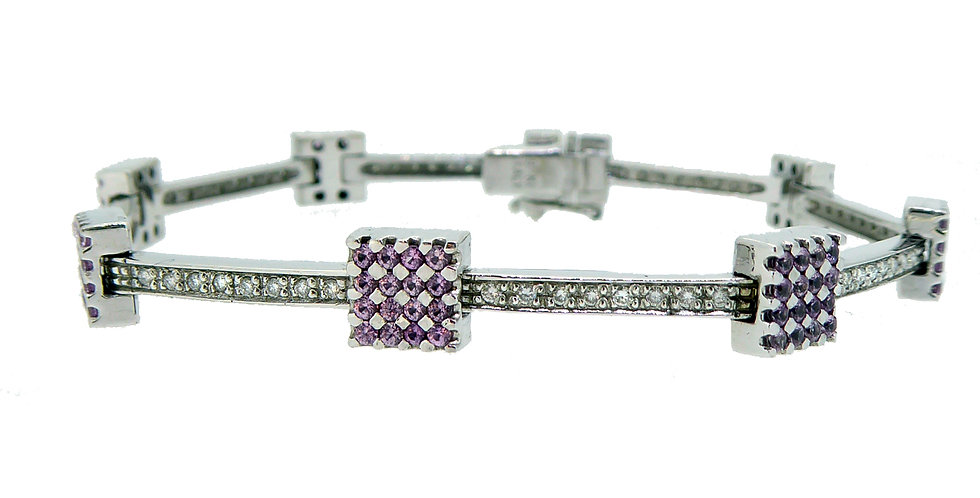 Modern Diamond and Pink Sapphire Bracelet in White Gold