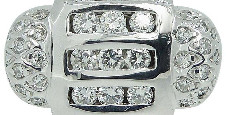 Modern 0.83 Carat Diamond Cluster Ring, 18 Carat White Gold, Avant Guarde Design