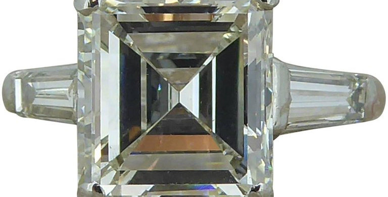 Certified 3.68 Carat Diamond Ring, Emerald Cut Solitaire, Platinum, Anchor Cert