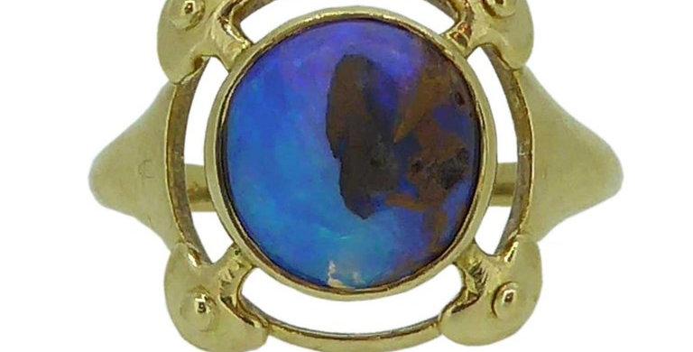 Murrle Bennet & Co. Opal Ring, Arts & Crafts, circa 1910, 18 Karat Yellow Gold