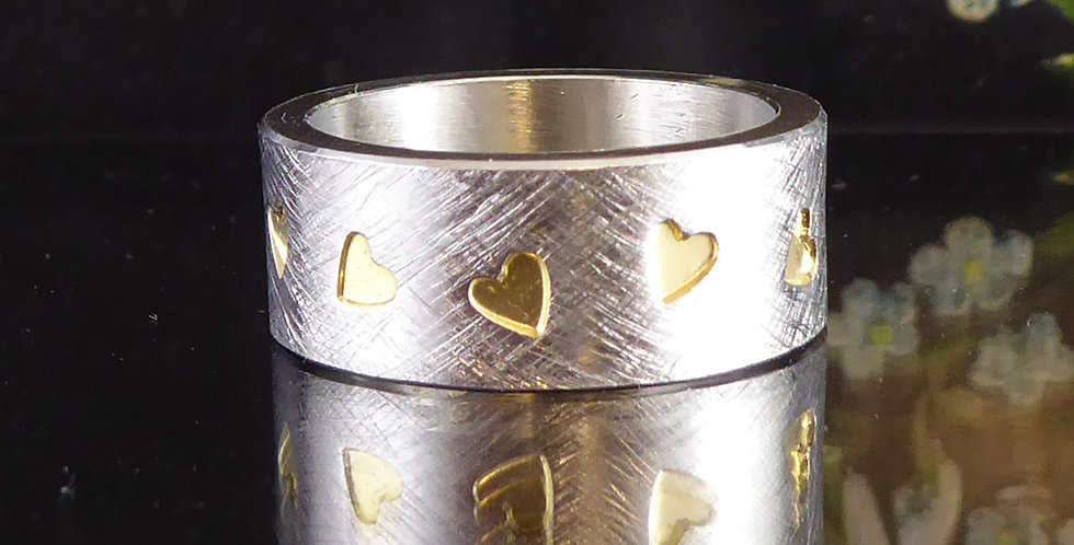 Contemporary Wide Band Ring, Silver Scratch Brush Finish, Gold Heart Pattern