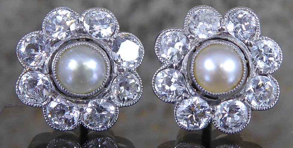 Vintage Diamond and Pearl Cluster Earrings, Circa 1950s